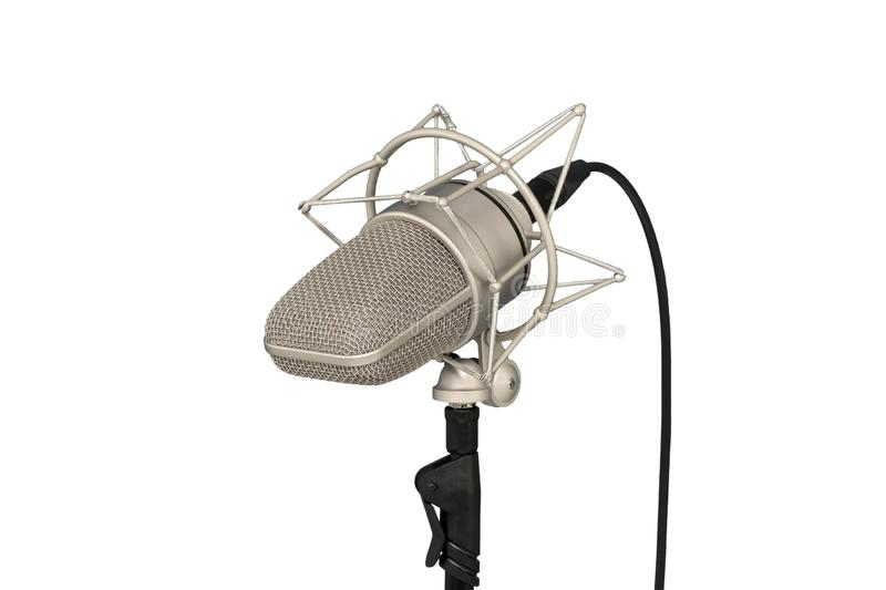 Mic - Close-up of a microphone stand. Professional condenser large-diaphragm. Isolated white background stock photos