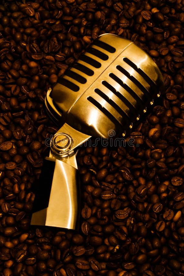 Free Mic & Coffee (gold) 2 Stock Images - 8120484