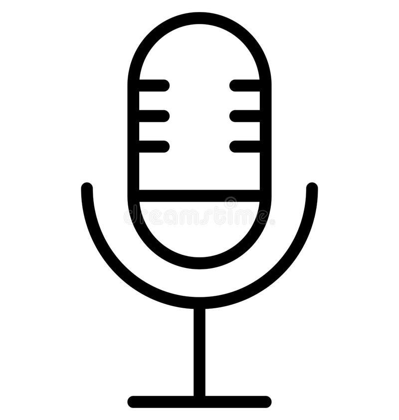 Mic Line Isolated Vetora Icon isso pode facilmente ser alterado ou editado ilustração stock