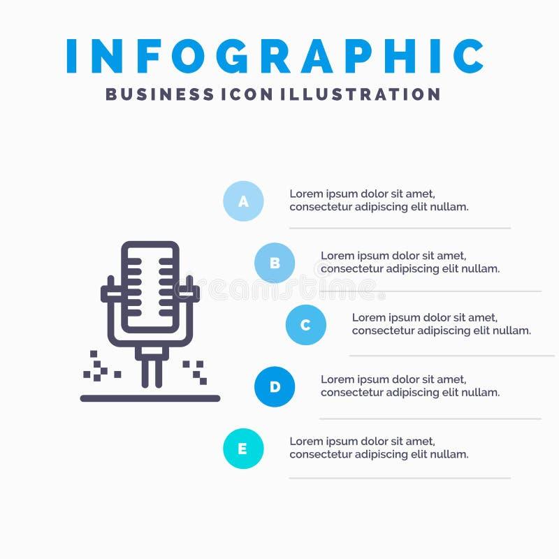 Mic, microfone, linha profissional, gravando ícone com fundo do infographics da apresentação de 5 etapas ilustração stock