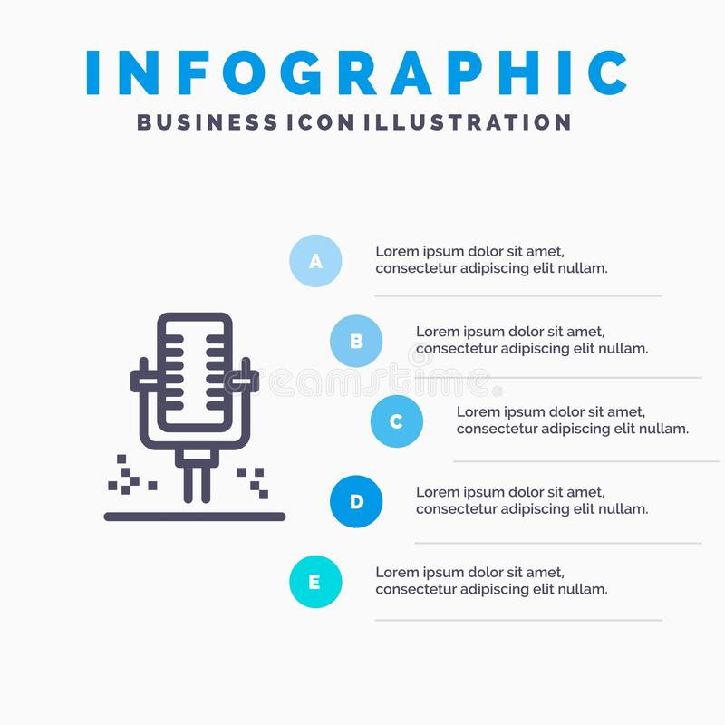 Mic, Microphone, Professional, Recording Line icon with 5 steps presentation infographics Background stock illustration