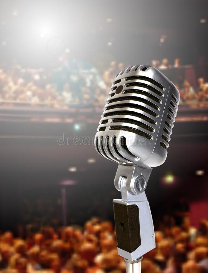 Mic on stage stock image