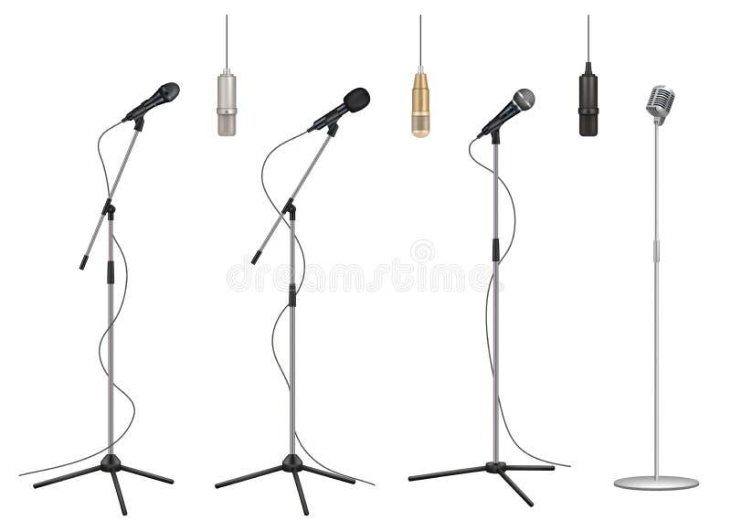 Mic tribune Realistische van de de studioberoepsuitrusting van muziekmicrofoons correcte vector de beeldeninzameling stock illustratie