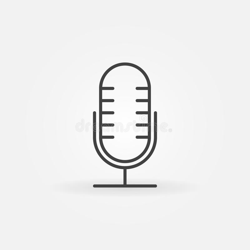 Mic vector outline icon. Retro microphone concept symbol. Or design element in thin line style royalty free illustration