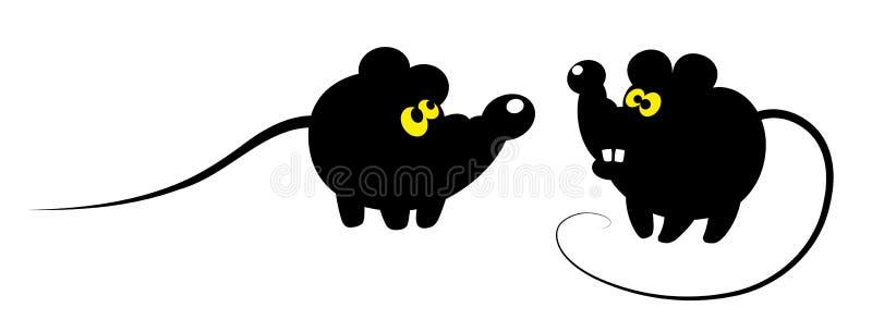 Mice. Cartoon illustration of mice with yellow eyes vector illustration