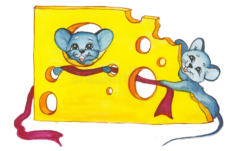 Mice. Cheese and two mice New Year rat stock illustration