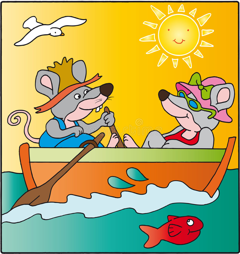 Mice. In a boat with the sun stock illustration
