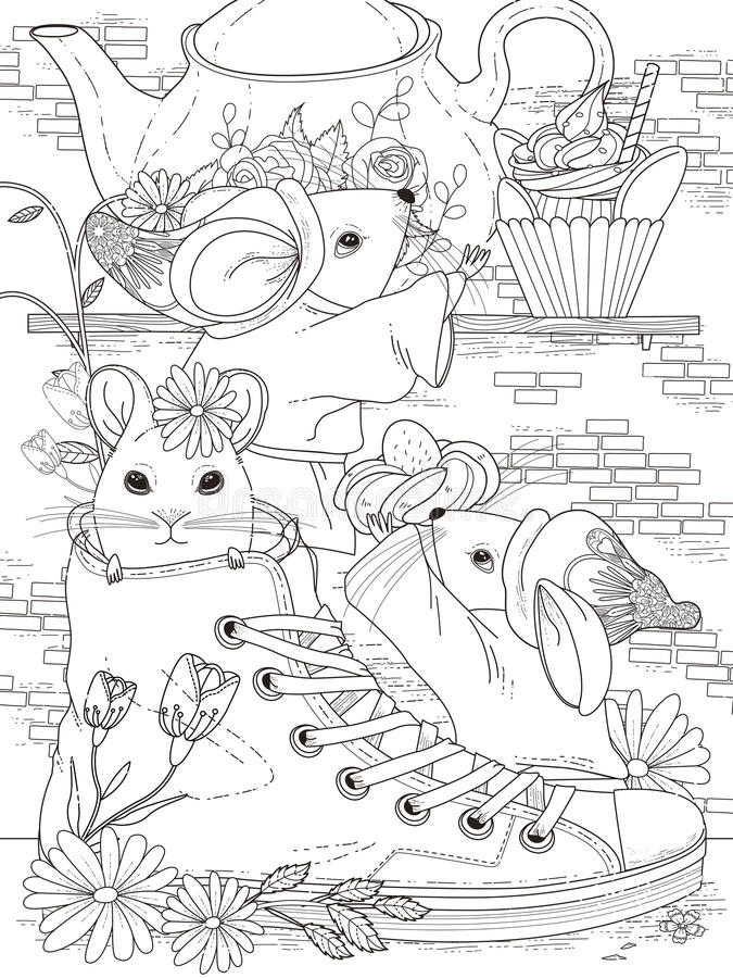 Mice adult coloring page stock illustration