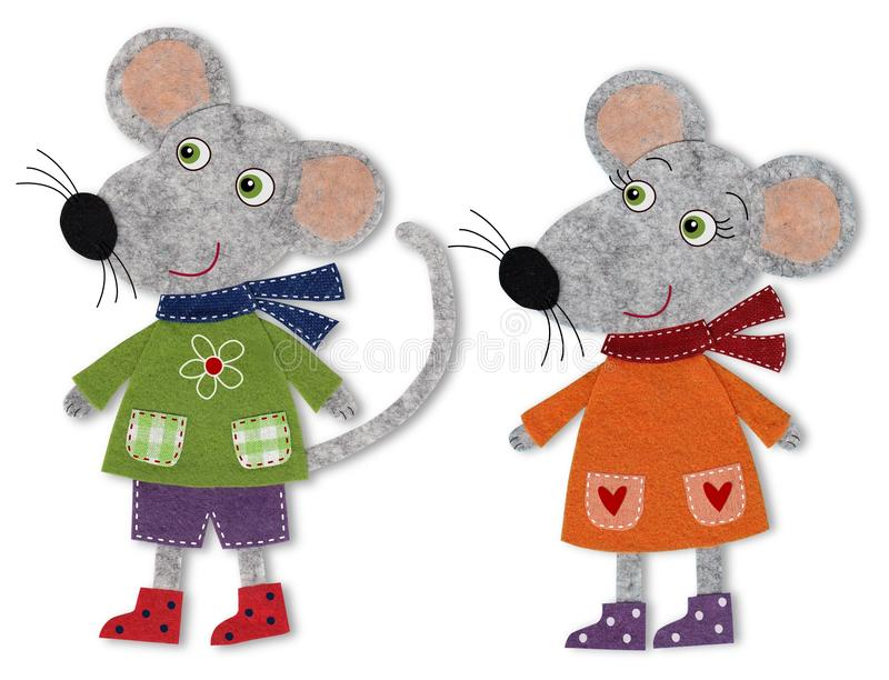 Mice, cartoon characters. Colorful felt and wool quiltting stock illustration