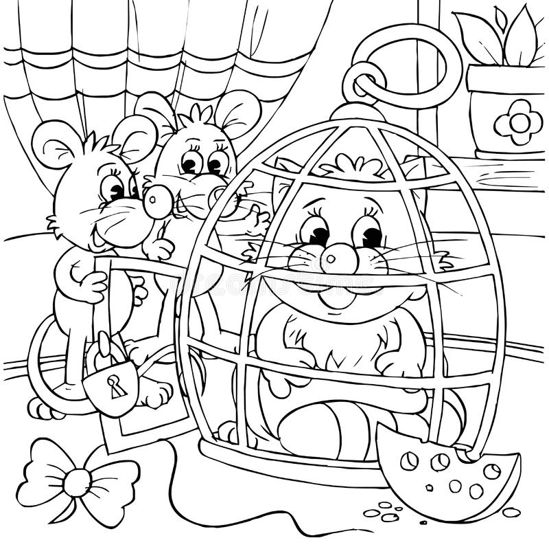 Mice and cat sitting in a cage