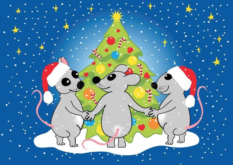 Mice celebrate Christmas, vector stock illustration