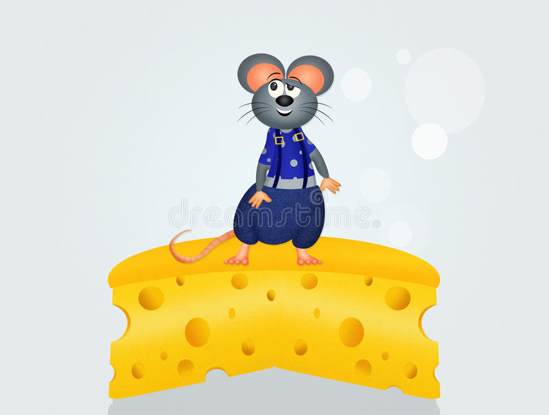 Mice on cheese stock illustration