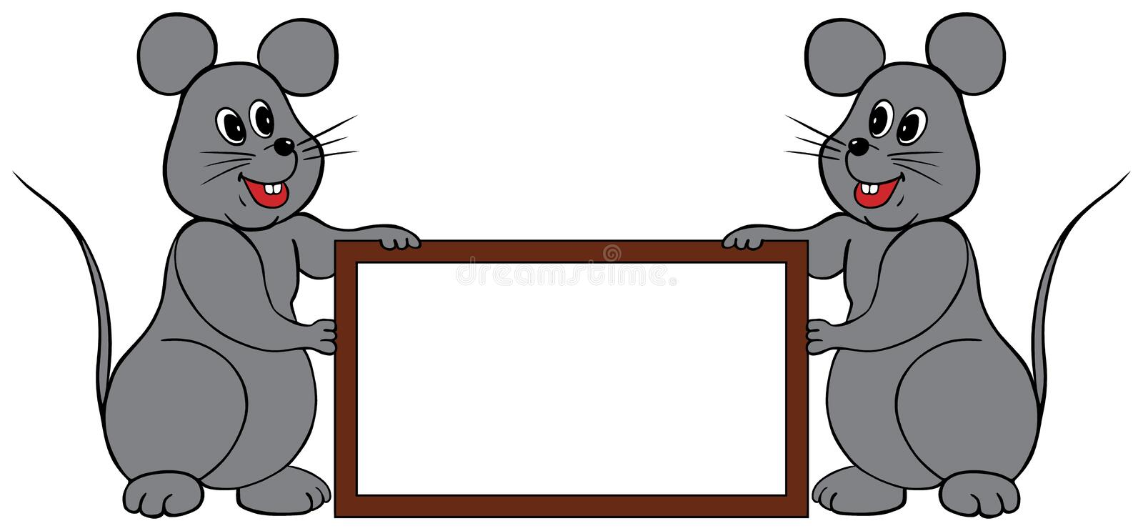 Mice frame. Two mice holding a frame to write any words you'd like vector illustration