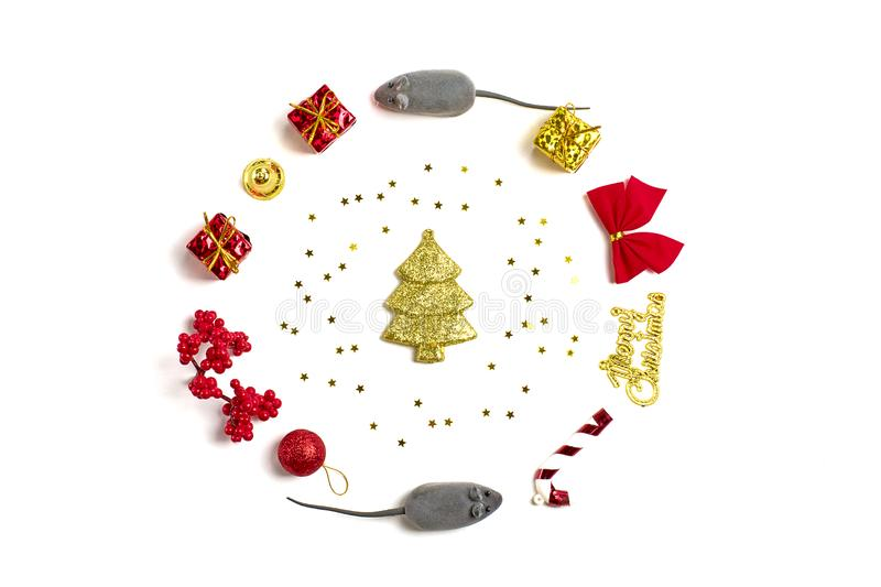 Mice, red and golden gift boxes, mountain ash, decorations, Santa Claus isolated on white background stock image