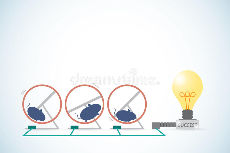 Mice is running in a hamster wheel to generate power for lightbulb, teamwork and success concept. Vector and illustration vector illustration