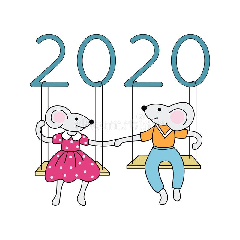 Mice are sitting on a swing holding hands. New 2020. stock photography