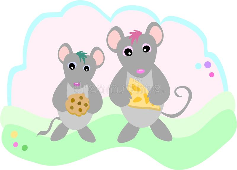 Mice with Snacks. These two friendly Mice have some goodies to munch on royalty free illustration