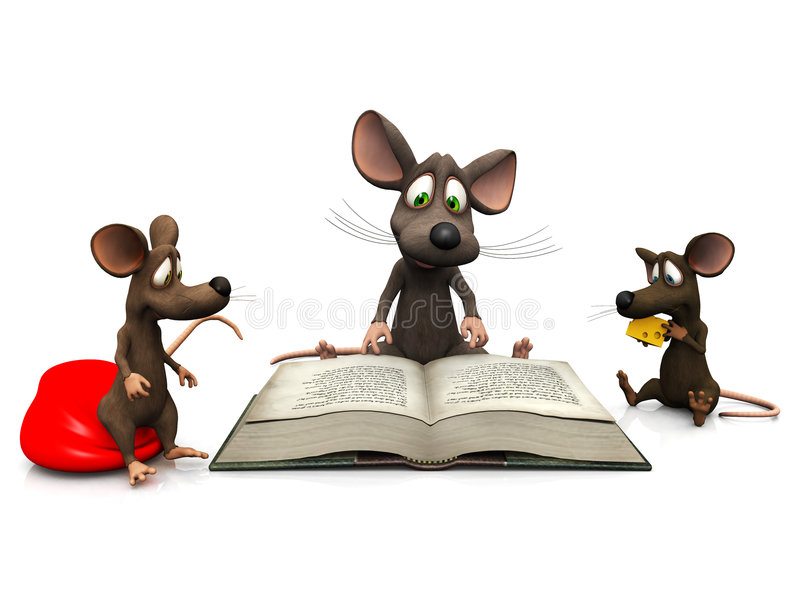 Mice storytime. An adult mouse reading a story for two mice kids vector illustration