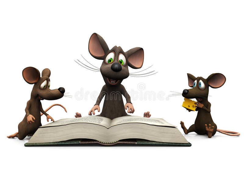 Mice storytime. An adult cartoon mouse reading a story for two mice kids stock illustration