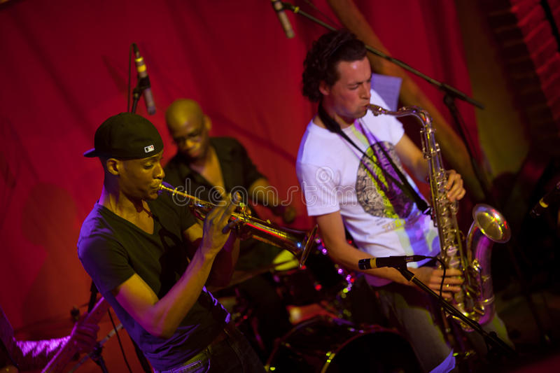 Michael Balog Sextet. Jazz band Michael Balog Sextet, XI International Festival Jazz Bez, December 5, 2011, Lviv, Ukraine royalty free stock photos