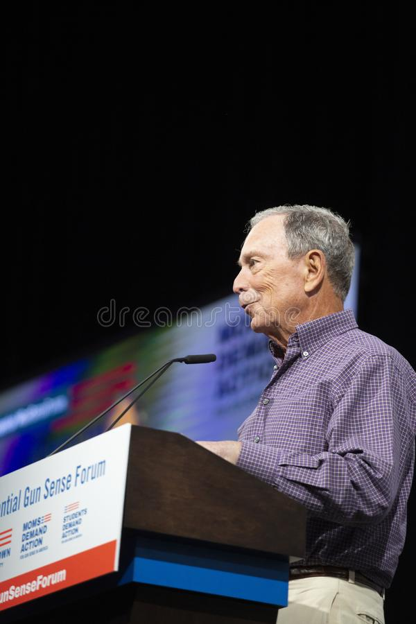 Michael Bloomberg speaks at the Urgent Gun Safety Presidential Forum in Des Moines, Iowa, on August 10, 2019 royalty free stock photography