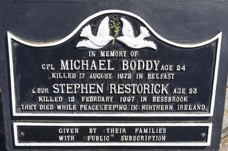 Michael Boddy and Stephen Restorick Plaque in Peterborough stock images