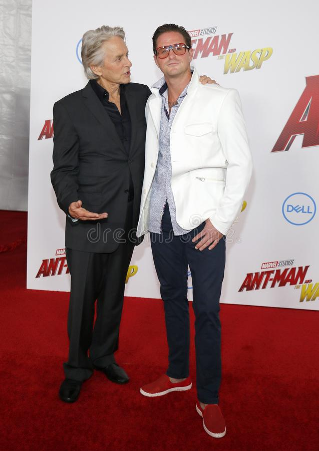 Michael Douglas and Cameron Douglas stock image