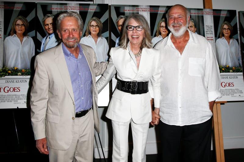 Michael Douglas Diane Keaton, Rob Reiner arkivbilder