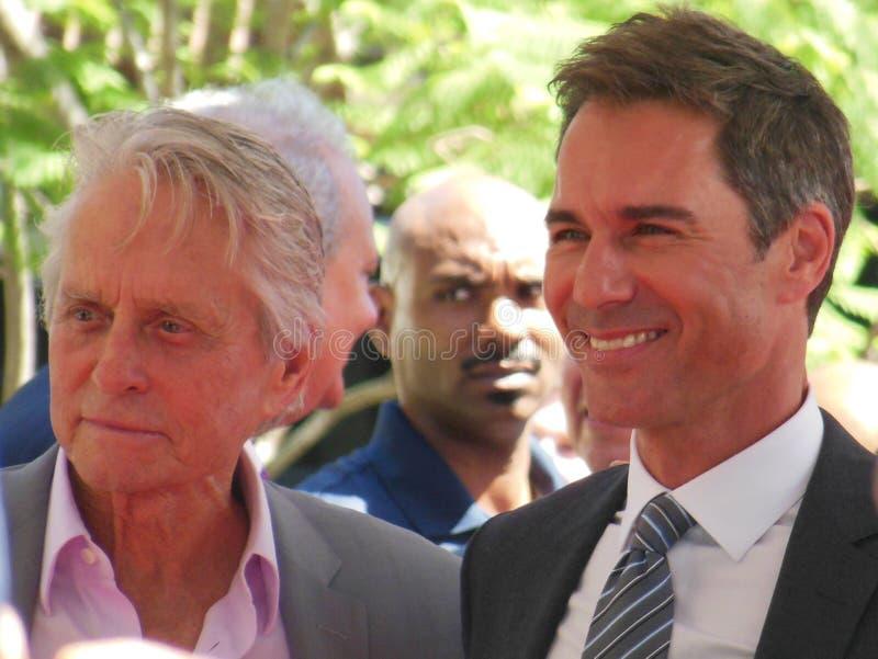 Michael Douglas and Eric McCormack Hollywood Walk of Fame stock photos