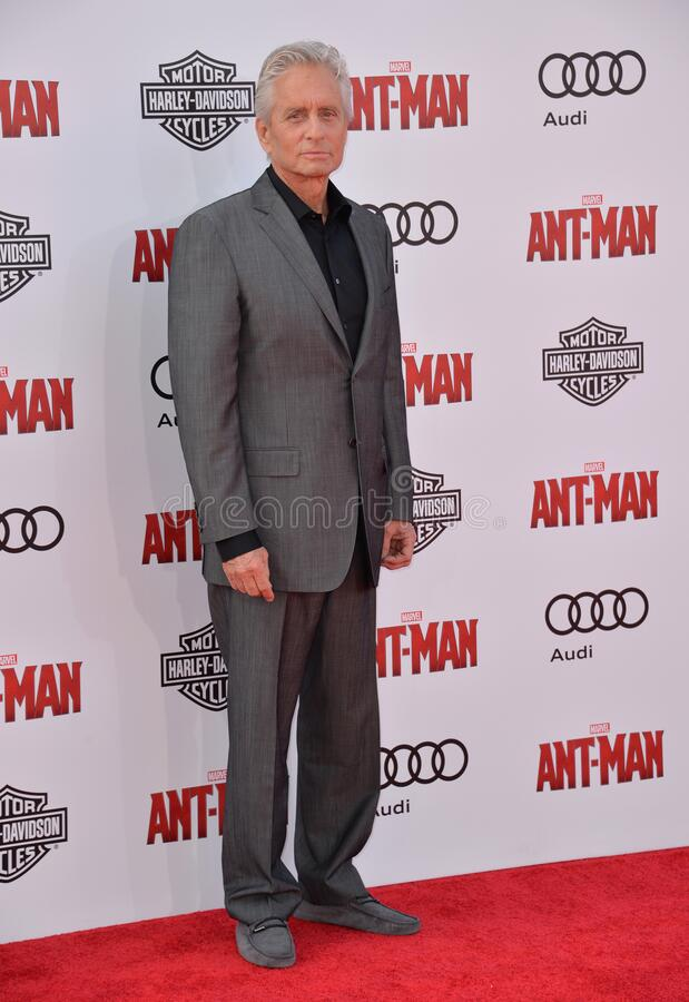 Michael Douglas. LOS ANGELES, CA - JUNE 29, 2015: Actor Michael Douglas at the world premiere of his movie Ant-Man at the Dolby Theatre, Hollywood royalty free stock image