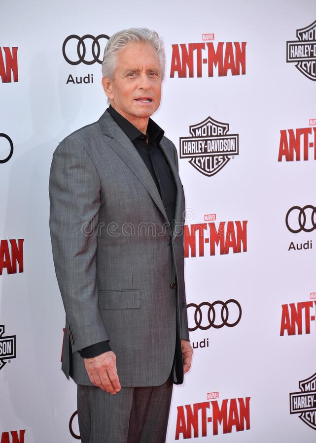 Michael Douglas. LOS ANGELES, CA - JUNE 29, 2015: Actor Michael Douglas at the world premiere of his movie \'Ant-Man\' at the Dolby Theatre, Hollywood royalty free stock photography