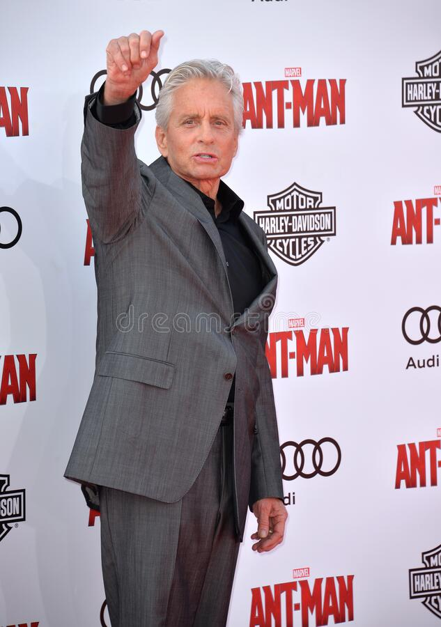 Michael Douglas. LOS ANGELES, CA - JUNE 29, 2015: Actor Michael Douglas at the world premiere of his movie \'Ant-Man\' at the Dolby Theatre, Hollywood royalty free stock images