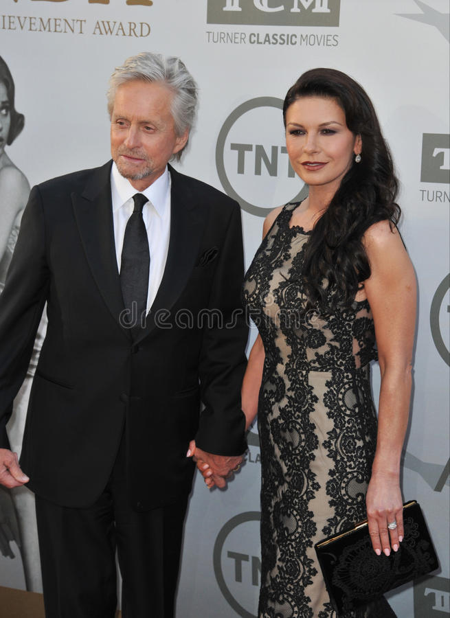 Michael Douglas u. Catherine Zeta-Jones stockbilder