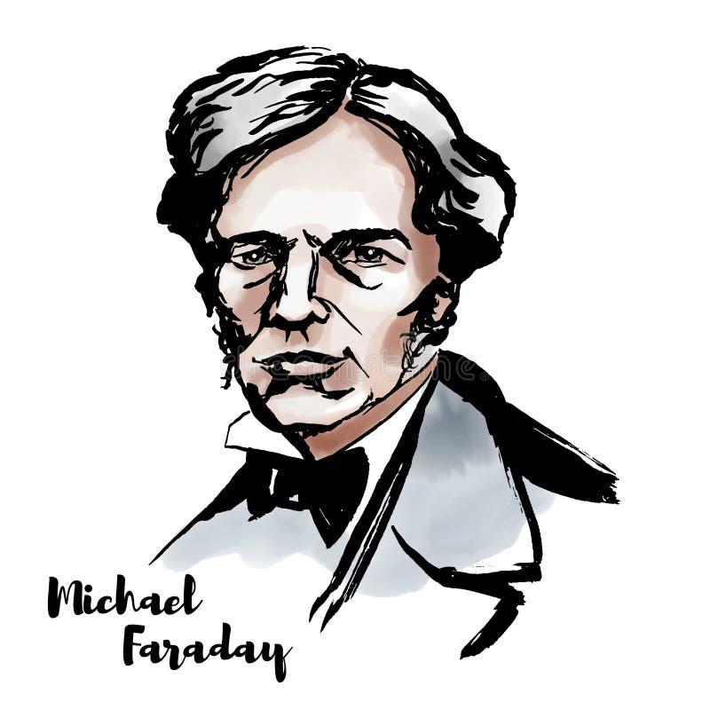 Michael Faraday Portrait stock de ilustración