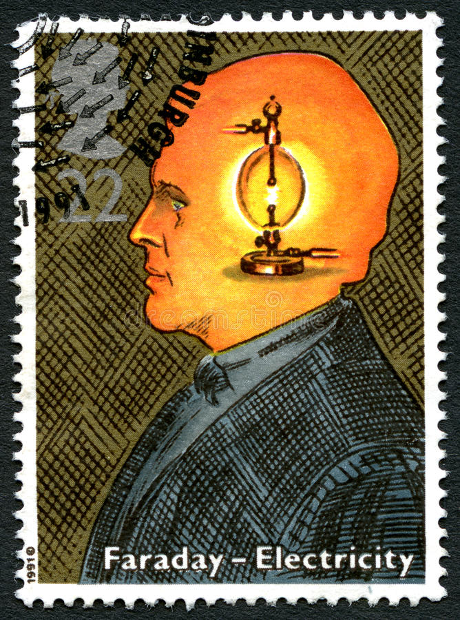 Michael Faraday UK Postage Stamp. GREAT BRITAIN - CIRCA 1991: A used postage stamp from the UK, celebrating the work of English Scientist Michael Faraday and the royalty free stock image