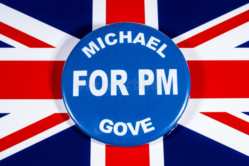 Michael Gove for Prime Minister. London, UK - May 29th 2019: A badge with Michael Gove for Prime Minister, pictured over the flag of the United Kingdom. Michael royalty free stock photos