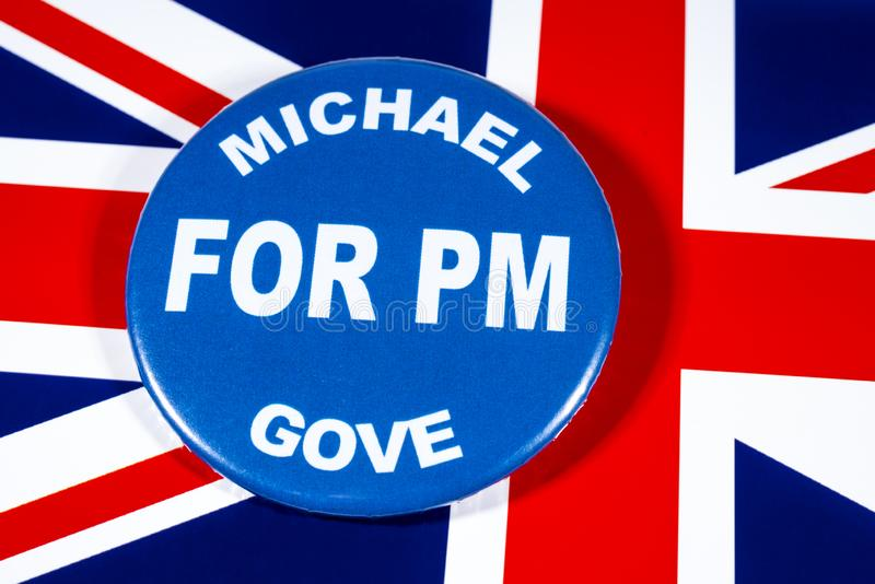 Michael Gove for Prime Minister. London, UK - May 29th 2019: A badge with Michael Gove for Prime Minister, pictured over the flag of the United Kingdom. Michael royalty free stock photography