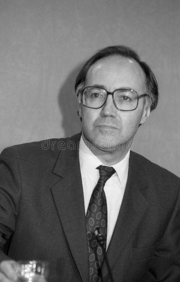 Michael Howard. Former Leader of the Conservative Party & Conservative Member of Parliament for Folkestone & Hythe, at a press conference in London on March 16 stock photo