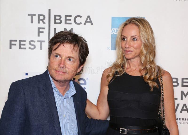 Michael J. Fox och Tracy Pollan royaltyfria bilder