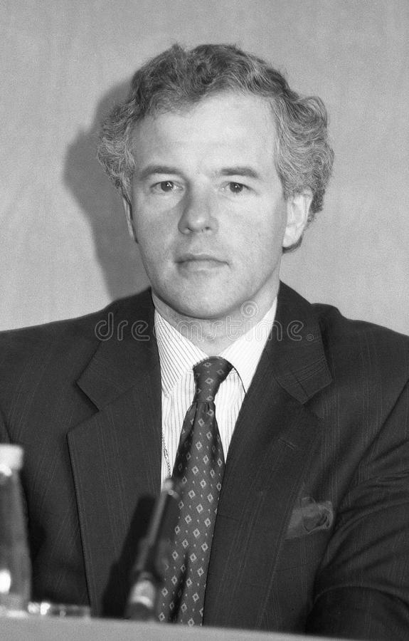 Michael Jack. Minister at the Department of Social Security and Conservative party Member of Parliament for Fyld, attends a press conference in London, England royalty free stock photos