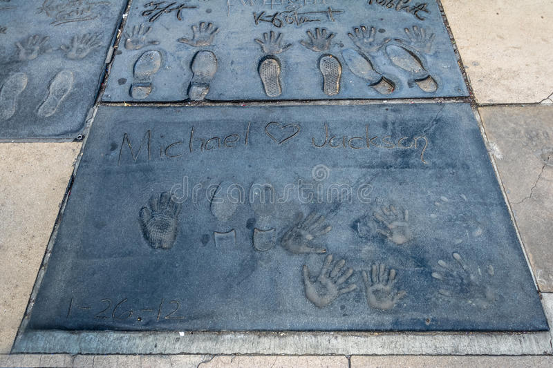 Michael Jackson handprints in Hollywood Boulevard in front of Chinese Theater - Los Angeles California, USA. LOS ANGELES, USA - January 07, 2017: Michael Jackson stock images
