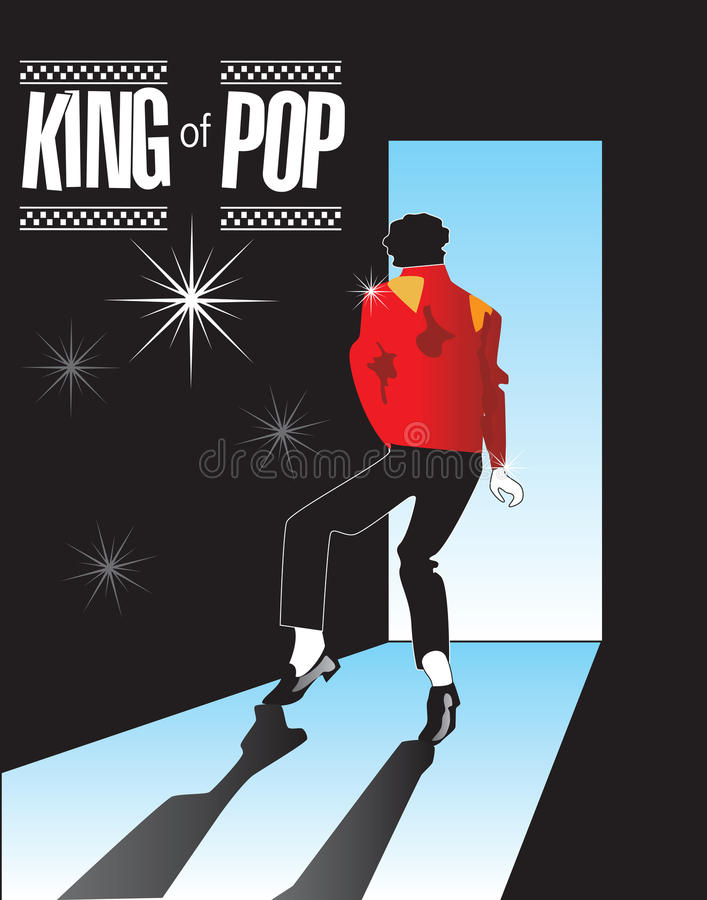 Michael Jackson, Koning van Pop Gedenkteken 1 in reeks! vector illustratie
