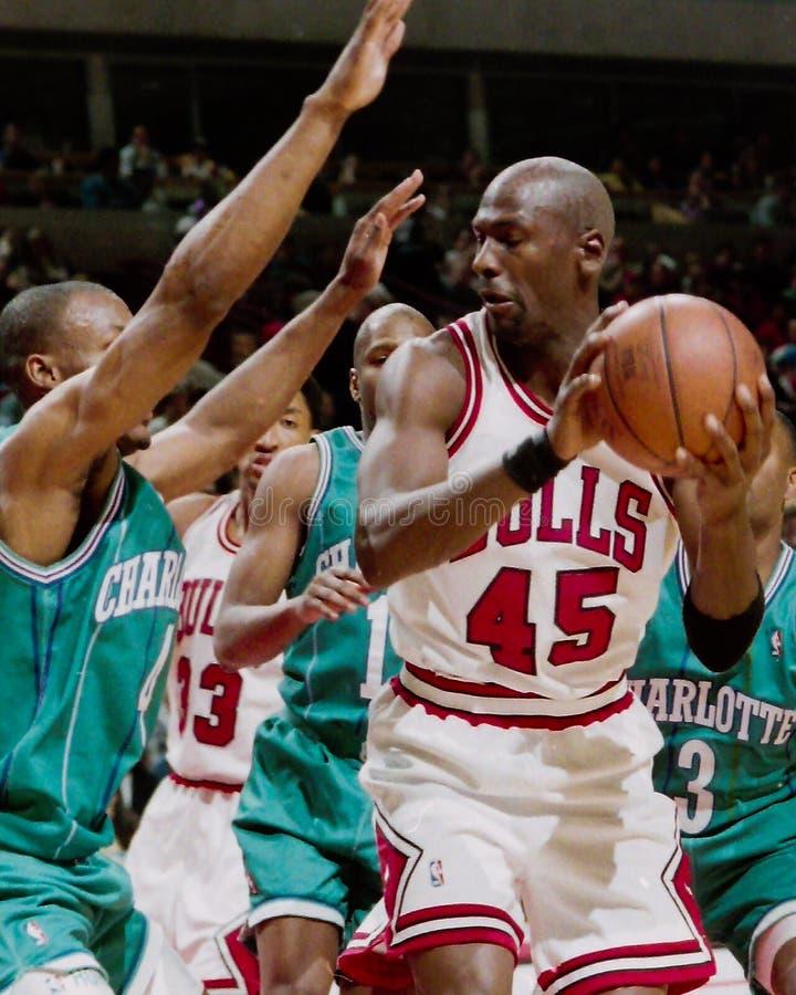 Michael Jordanië Chicago Stieren stock afbeeldingen