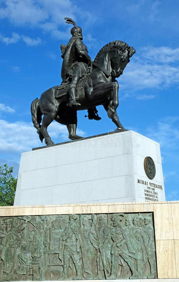 Michael la Brave Statua equestre Mihai Viteazul immagine stock libera da diritti