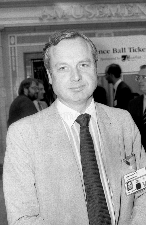 Michael Latham. Conservative party Member of Parliament for Rutland & Melton, visits the party conference on October 10, 1989 in Blackpool, England stock photo
