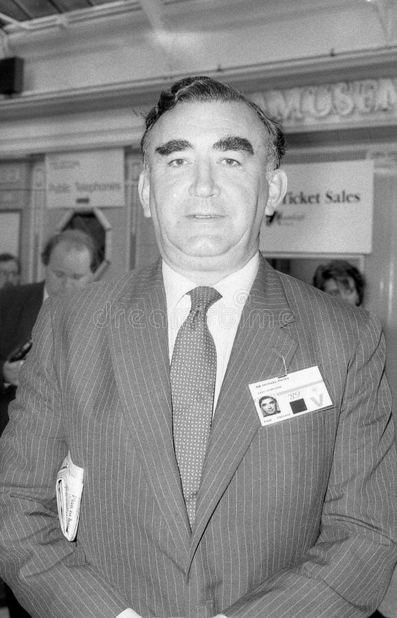 Michael Mates. Conservative party Member of Parliament for Hampshire East, visits the party conference on October 10, 1989 in Blackpool, England royalty free stock image