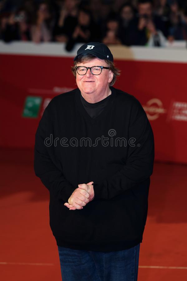 Michael Moore na czerwonym chodniku przy Rzym filmu Fest 2018 zdjęcia stock