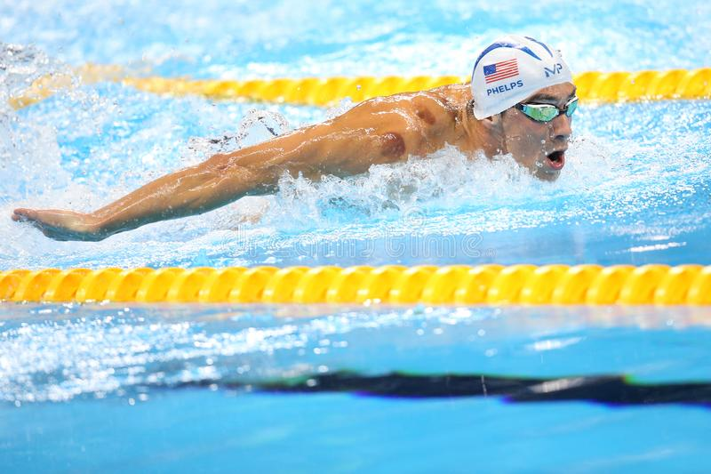 Michael Phelps ai Olympics a Rio, Brasile fotografie stock libere da diritti