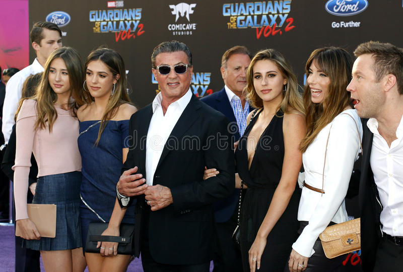 Michael Rosenbaum, Sylvester Stallone, Scharlaken Rose Stallone, Sistine Rose Stallone, Sophia Rose Stallone, Jennifer Flavin en  royalty-vrije stock foto