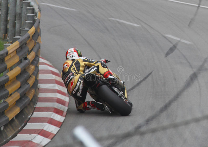 Michael Rutter at the 2016 Macau GP. On Reservoir Bend. On BMW S1000RR motorcycle superbike racer royalty free stock image